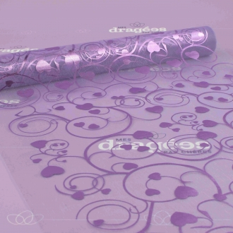 Chemin de table coeur lilas