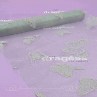 Chemin de table organza papillon gris