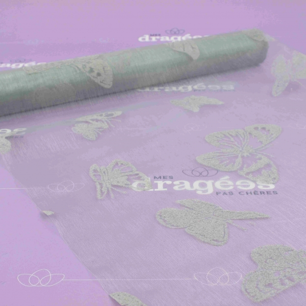 Chemin de table organza papillon gris - Chemin de table jetable pas cher ...
