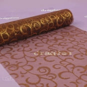 Chemin de table en organza avec arabesque marron