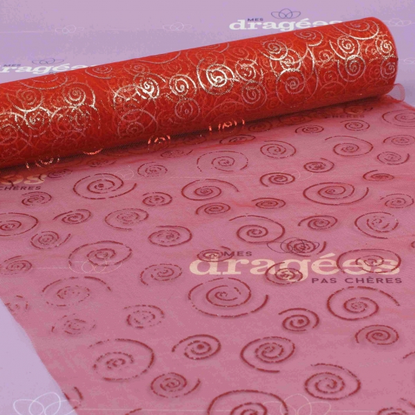 Chemin de table organza rouge a spirales - Chemin de table jetable pas cher ...