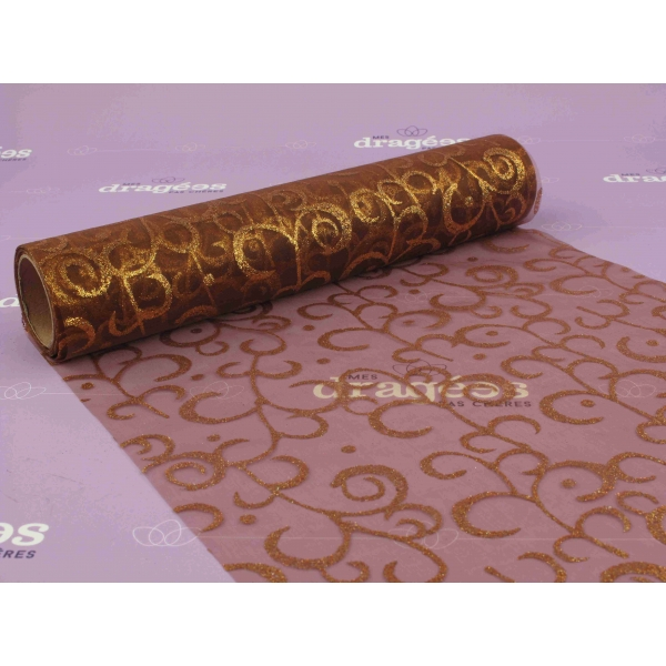 Chemin de table en organza avec arabesque marron - Chemin de table jetable pas cher ...