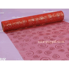 Chemin de table organza rouge à spirales