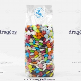 Sachet de dragées mini coeur multicolore 700gr