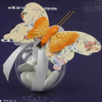 Papillon pince orange dans boule